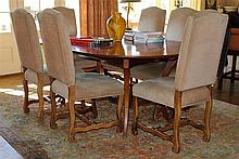 SET OF SIX FRENCH COUNTRY FRUITWOOD DINING CHAIRS
