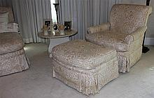 LADIES UPHOLSTERED CHAISE TOGETHER WITH A LADIES CHAIR AND MATCHING OTTOMAN, ALL IN IVORY UPHOLSTERY