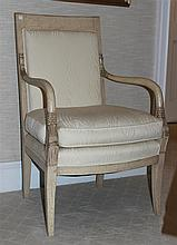 LOUIS XVI STYLE CHAIR TOGETHER WITH A MARBLE TOPPED WHITE CERAMIC SIDE TABLE