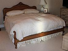 FRENCH COUNTRY FRUITWOOD KING SIZE BED INCLUDING DUVET, DUSTRUFFLE, SHAMS AND SLEEP MATTRESS