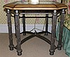 PAIR OF CONTEMPORARY OCTAGONAL SIDE TABLES WITH GLASS INSERT