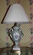 FREDERICK COOPER FLORAL PAINTED URN LAMPS WITH PLEATED SHADES