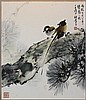 OU HAONIAN (CHINESE, 1935-) BIRDS Ink on artist board: 20 3/4 x 17 3/4 in.