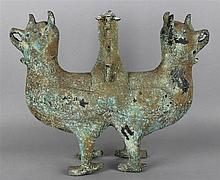 CHINESE DOUBLE MYTHICAL BIRD SUPPORT, SHANG/ZHOU DYNASTY
