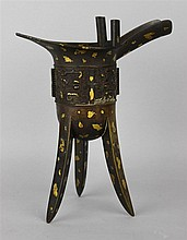 CHINESE GOLD-SPLASHED BRONZE JUE (WINE VESSEL), QING DYNASTY, SIGNED IN ANCIENT SEAL SCRIPT