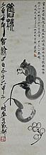QI BAISHI (CHINESE, 1864-1957) RAT EATING LOQUAT AND TWO GOURDS, 1924 Ink on paper on scroll: 31 x 9 1/2 in.