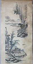 HUANG LU ZHEN (CHINESE, 1871-1935) LANDSCAPE, 1929 Ink on paper on scroll: 33 x 12 1/4 in. (sheet)
