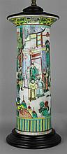 CHINESE FAMILLE VERTE VASE MOUNTED AS A TABLE LAMP