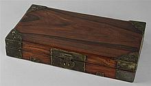 CHINESE HUALI BRASS-BOUND DOCUMENT BOX, QING DYNASTY