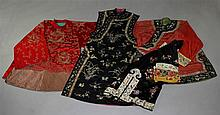 A GROUP OF CHINESE ROBES AND PAIR OF LOTUS SHOES