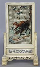 CHIINESE IVORY SMALLTABLE SCREEN AND STAND, 18TH/19TH C.