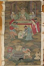 CHINESE PORTRAIT OF A DIGNITARY WITH ATTENDANTS ABOVE HELL