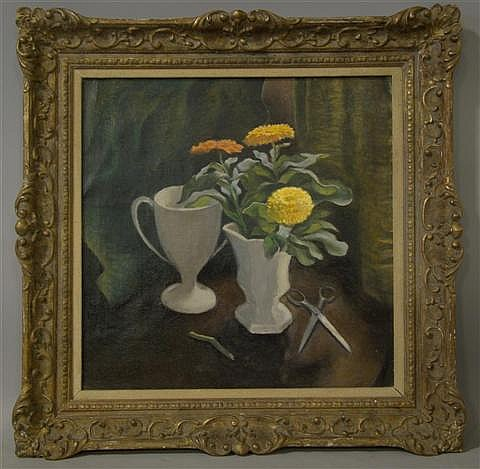 VIRGINIA ARMITAGE MCCALL (AMERICAN, b.1908) FLORAL STILL LIFE WITH SCISSORS Oil on canvas: 24 x 24 in.