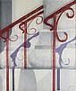 GALE RAY (AMERICAN, 20TH AND 21ST CENTURY) RAILING Handwoven, painted, layered tapestry: 32 x 28 in.