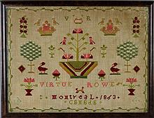 MONTREAL CANADIAN SAMPLER SIGNED VIRTUE ROWE, MONTREAL 1863