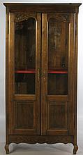 FRENCH PROVINCIAL STYLE OAK DISPLAY CABINET