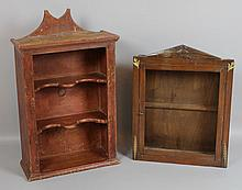 TWO PRIMITIVE DISPLAY CABINETS
