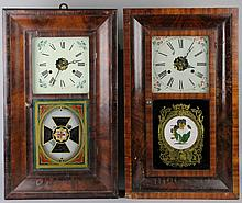 TWO AMERICAN, JEROME & CO. AND E.G. WELCH, MAHOGANY OGEE SHELF CLOCKS WITH EGLOMISE DESIGNS