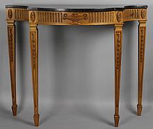 NEOCLASSICAL STYLE PINE CONSOLE TABLE WITH GRANITE TOP