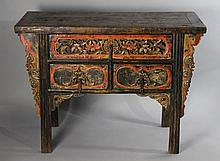 SINO-TIBETAN CARVED AND PAINTED WOOD ALTAR TABLE
