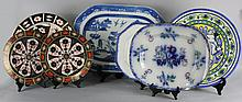 ROYAL CROWN DERBY IMARI PATTERN CHARGER AND SIX OTHER PIECES