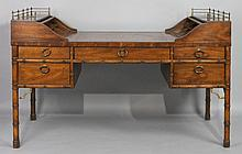 HERITAGE FURNITURE CO. GEORGE WASHINGTON STYLE DESK, IN THE CHINESE TASTE TOGETHER WITH A BASSETT CO. OAK AND CANED BACK SWIVEL DESK...