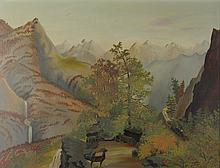 AMERICAN SCHOOL (19TH/20TH CENTURY) MOUNTAIN LANDSCAPE WITH TRAIN PASSING THROUGH Oil on canvas: 18 1/2 x 24 1/2 in.