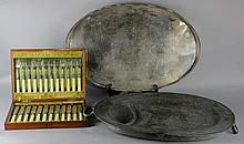 A SILVER -PLATED OVAL GALLERIED TRAY