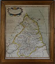 ROBERT MORDEN (ENGLISH, 1650-1703) MAP OF NORTHUMBERLAND Colored engraving: 17 x 14 in. (sight)