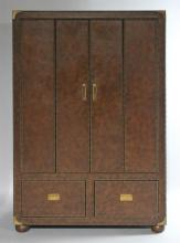 FERGUSON COPELAND LTD. TOBACCO BROWN LEATHER AND BRASS TRIMMED CABINET