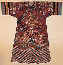 CHINESE BROWN SILK DAMASK SILK AND GOLD EMBROIDERED COURT ROBE, QING DYNASTY