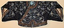 CHINESE SILK EMBROIDERED DARK BLUE SILK JACKET, LATE QING DYNASTY