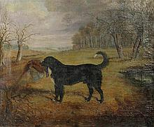 WILKINSON JOHN GILBERT (ENGLISH, 1805 - C.1862) DOG WITH PHEASANT Oil on canvas: 19 3/4 x 24 in.