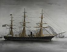 AMERICAN SCHOOL (19TH CENTURY) AMERICAN NAVAL BATTLESHIP IN HONG KONG HARBOUR Mixed media on paper laid on linen: 21 x 27in. (sight)