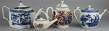 FOUR ENGLISH TEAPOTS AND COVERS