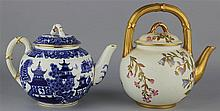 TWO ROYAL WORCESTER GLOBULAR TEAPOTS AND COVERS
