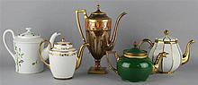 SEVRES LOUIS PHILIPPE COFFEE POT AND COVER AND FOUR OTHER POTS AND COVERS