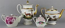 WALLENDORF AND THREE OTHER CONTINENTAL PORCELAIN TEAPOTS
