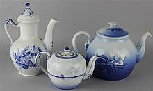 TWO DANISH & ONE GERMAN BLUE AND WHITE POTS AND COVERS