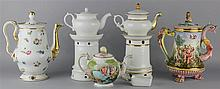 GROUP OF CONTINENTAL TEA AND COFFEE POTS AND COVERS