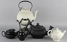 SMEAR GLAZED POT AND COVER ON PLATED STAND, THREE BLACK-GLAZED POTS AND COVERS & ONE PARIAN
