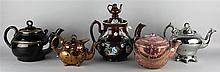 FIVE ENGLISH POTTERY TEAPOTS AND COVERS
