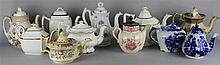 TEN VARIOUS ENGLISH COFFEE AND TEAPOTS AND COVERS