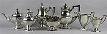 REED & BARTON SILVER SEVEN-PIECE TEA AND COFFEE SET
