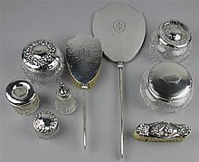 GROUP OF SILVER AND GLASS GROOMING TOOLS
