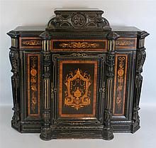AMERICAN RENAISSANCE REVIVAL EBONIZED PARLOR CABINET, POSSIBLY POTTIER AND STYMUS OR HERTER BROTHERS