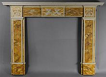 ENGLISH FAUX MARBLE PAINT DECORATED NEOCLASSICAL STYLE MANTEL
