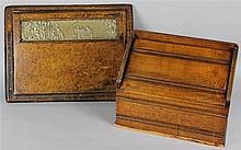 CHESTNUT DESK ORGANIZER ALONG WITH A LEATHER AND BRASS EMBOSSED DESK BLOTTER