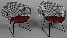 PAIR OF HARRY BERTOIA FOR KNOLL ASSOCIATES DIAMOND LOUNGE CHAIRS WITH ORIGINAL PURCHASE RECEIPT FROM 1955