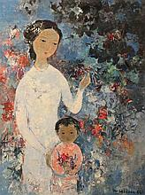 VU CAO DAM (FRENCH, 1908-2000) MOTHER AND CHILD Oil on canvas: 18 1/2 x 24 1/4 in.